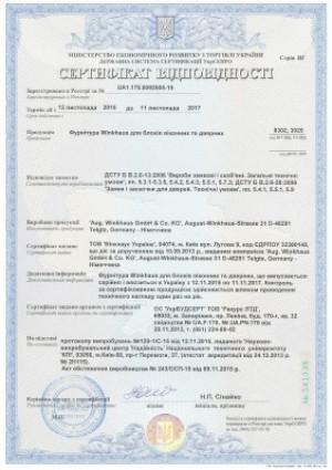 Сертификат на фурнитуру WINKHAUS